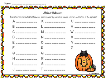 ABCs of Halloween: A Brainstorming Activity