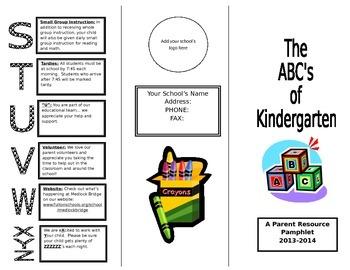 ABC's of Kindergarten Informational Pamphlet