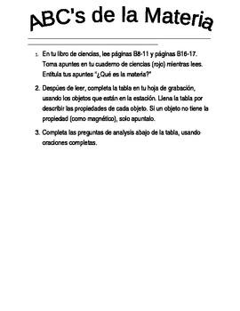 Dual Language - ABC's of Matter Science Investigation SPANISH
