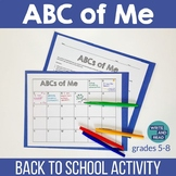 ABCs of Me Back to School Activity