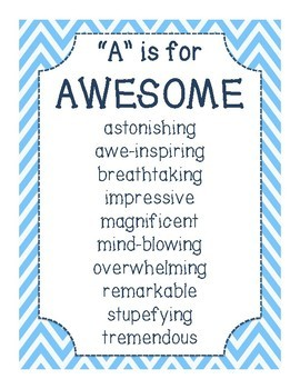 Classroom Writing Word Wall Mini Posters: Over-Used Adjectives
