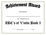 ABCs of Violin Completion Charts