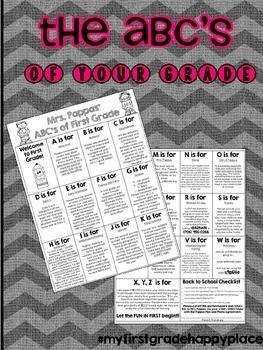 ABC's of YOUR Grade - K-5th Grade - EDITABLE!!!