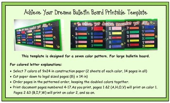 ABCs to Achieve Your Dreams Bulletin Board XL- printable template