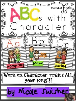 ABCs with Character (Ball/Stick Print): Character Traits & Response Sheets