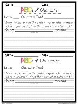 ABCs with Character (D'Nealian Cursive)- Character Traits + Response Sheets