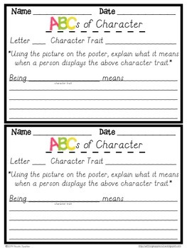 ABCs with Character (D'Nealian Print)- Character Traits + Response Sheets