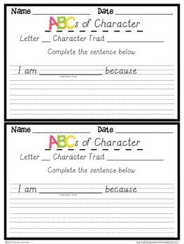 ABCs with Character (Formal Cursive)- Character Traits + Response Sheets