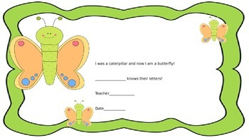 ABC's....Help the Caterpillar turn into a Butterfly