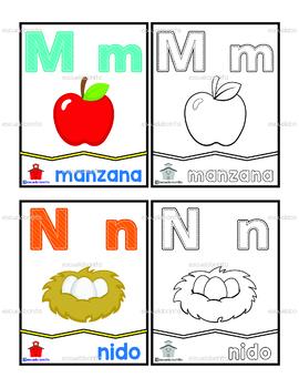 ABECEDARIO EN ESPAÑOL con letra, dibujo y palabra (Color y BN)