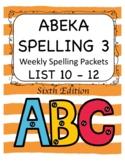 ABEKA Spelling 3 Weekly Packets - Practice Worksheets - Li