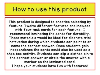 ABLLS-R ALIGNED ACTIVITIES C38 Feature Task Cards