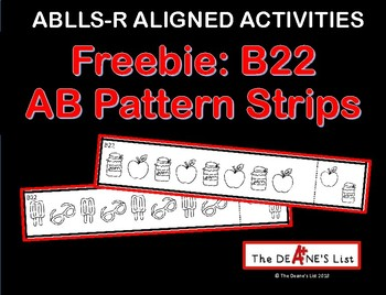 ABLLS-R ALIGNED ACTIVITIES Freebie B22 AB Pattern Strips