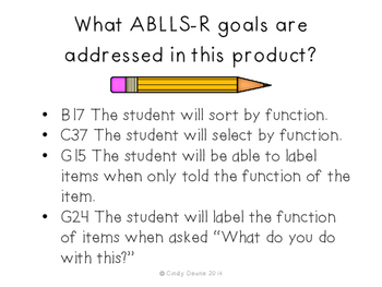 ABLLS-R  ALIGNED ACTIVITIES Functions of Objects: School