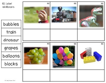 ABLLS-R ALIGNED ACTIVITIES G1 Label reinforcers- Photo Version