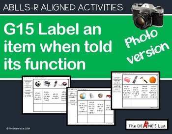 ABLLS-R ALIGNED ACTIVITIES G15 Label item when told its function-Photo Version