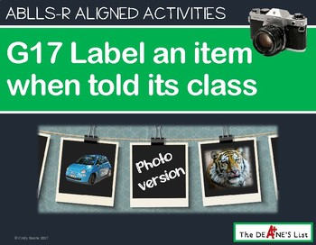 ABLLS-R ALIGNED ACTIVITIES G17 Label items when told class Photo Version