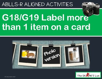 ABLLS-R ALIGNED ACTIVITIES G18/G19 Label more than 1 item--Photo Version