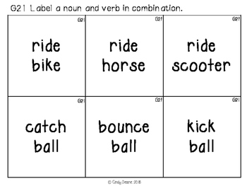 ABLLS-R ALIGNED ACTIVITIES G21 Label a noun & verb in combination
