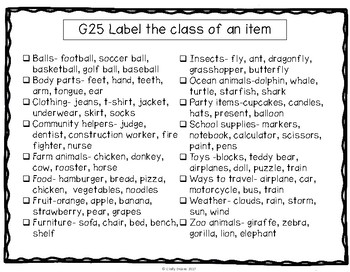 ABLLS-R ALIGNED ACTIVITIES G25 Label the category of items Photo Version