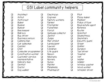 ABLLS-R ALIGNED ACTIVITIES G31 Label community helpers Photo Version