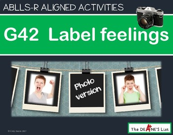 ABLLS-R ALIGNED ACTIVITIES G42 Label feelings- Photo Version