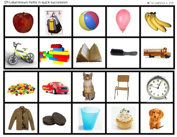 ABLLS-R ALIGNED ACTIVITIES G9 Label known items quickly Photo Version