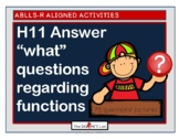 "ABLLS-R ALIGNED H11 Answer  ""what"" questions regarding functions"