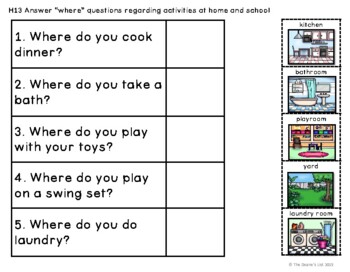 "ABLLS-R ALIGNED ACTIVITIES H13 ""Where"" questions about home & school activities"