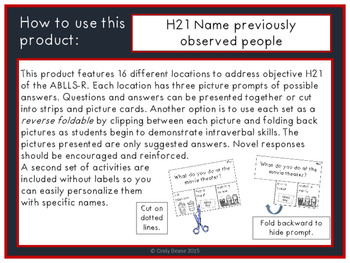 ABLLS-R ALIGNED ACTIVITIES H21 Name previously observed people