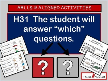 """ABLLS-R ALIGNED ACTIVITIES H31 Answer """"which"""" questions with SymbolStix"""