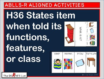 ABLLS-R ALIGNED ACTIVITIES H36 States item when told function, features or class