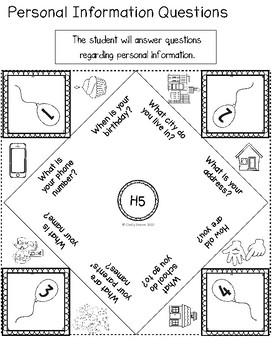 ABLLS-R ALIGNED ACTIVITIES H5 Personal Information Cootie Catcher