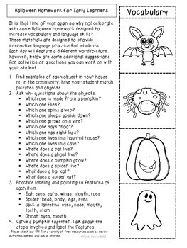 ABLLS-R ALIGNED ACTIVITIES Halloween Homework for Early Learners with Autism