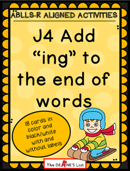 """ABLLS-R ALIGNED ACTIVITIES J4 Add  """"ing"""" to  the end of words"""