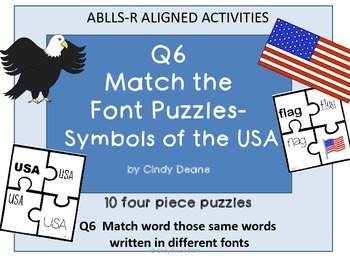 ABLLS-R ALIGNED ACTIVITIES Q6 Match the font puzzles-Symbols of the USA