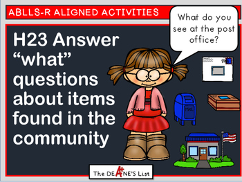 """ABLLS-R  ALIGNED H23 Answer """"what"""" questions about items found in the community"""