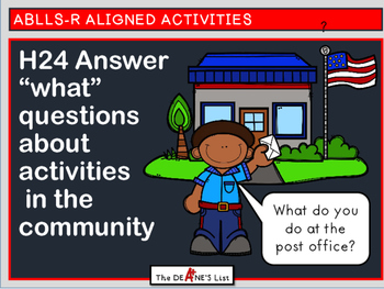 """ABLLS-R ALIGNED H24 Answer """"what"""" questions about activities in the community"""