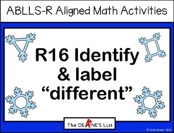 """ABLLS-R ALIGNED MATH ACTIVITIES R16 Identify & label """"different""""- Winter edition"""