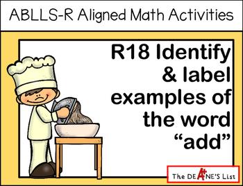 "ABLLS-R ALIGNED MATH ACTIVITIES R18 Identify & label  ""add"""