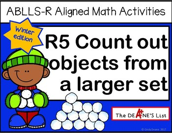 ABLLS-R ALIGNED MATH ACTIVITIES R5 Count out objects from a set-Winter Edition