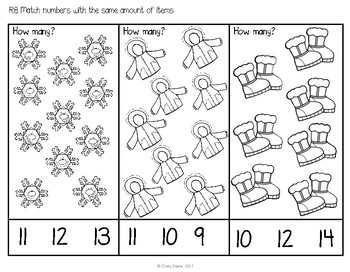 ABLLS-R ALIGNED MATH ACTIVITIES R8 Match a number with an amount-Winter Edition