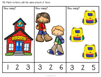 ABLLS-R ALIGNED MATH ACTIVITIES R8 Match a number with an amount of objects