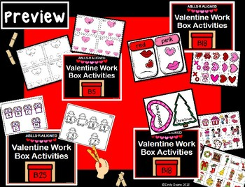 ABLLS-R ALIGNED Valentine Work Box Activities