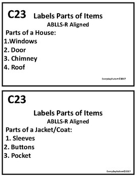 ABLLS-R Aligned  C23- Label parts of Items