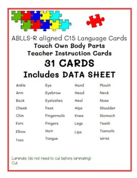 ABLLS-R C15 Body Parts Teacher Instruction(SD) Module Cards