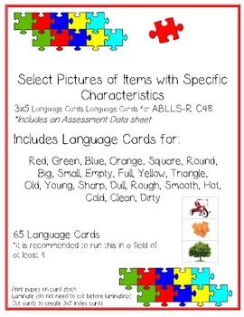 Item Characteristics Language Cards ABLLS-R C48