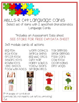 Two items Two characteristics Language Cards ABLLS-R C49
