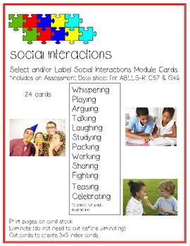 SOCIAL INTERACTIONS Language Cards ABLLS-R C57, G46