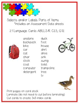Parts of items Language CARDS ABLLS-R C23